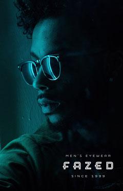 men's eyewear poster Neon