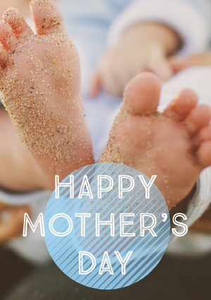 Blue With Baby Feet's Mother's Day Card Biglietto di auguri per la Festa della mamma