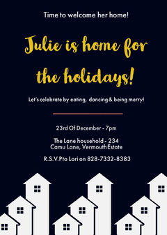 Black Christmas Homecoming Party Invitation Card Christmas Invitation