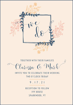 Floral Frame Wedding Invite  Rustic Wedding Invitation