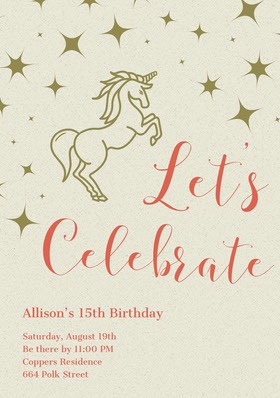 Gold and Red Illustrated Birthday Party Invitation Card with Unicorn Convite de aniversário