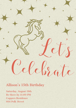 Gold and Red Illustrated Birthday Party Invitation Card with Unicorn Tarjeta de cumpleaños de unicornio