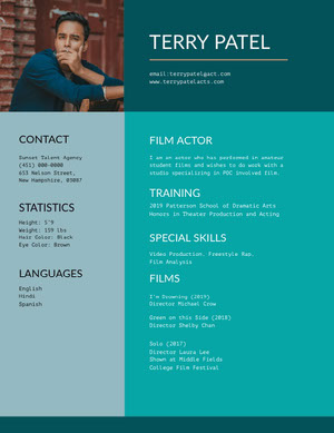 Green and Blue Professional Resume Acting Resume