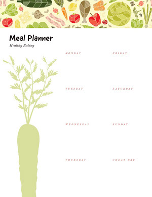 Green and White Empty Meal Planner Veckomeny
