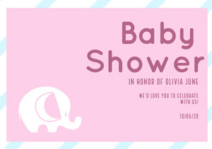 Elephant Baby Shower Invitation Baby Shower Thank You Card