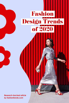 Pale Blue and Red Abstract Shape Fashion Design Trends Pinterest Graphic with Model in Dress Fashion