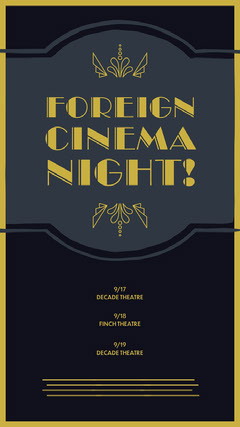 Gold and Black Foreign Cinema Night Movie Theatre Poster Movie Night Flyer
