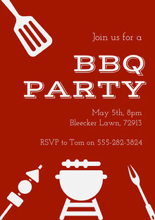 BBQ Party Invite BBQ Menu