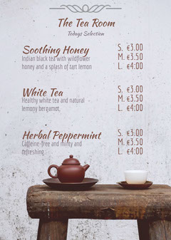 Grey and Brown Tea Room Menu Drink Menu