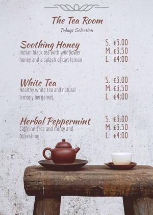 Grey and Brown Tea Room Menu Drink Menu
