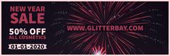 New Year Sale Firework Web Banner Fireworks