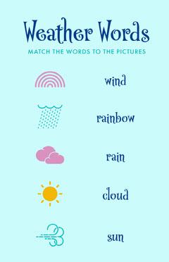 Blue Weather Words Worksheet Kids