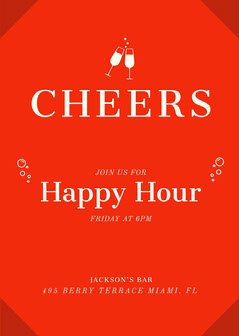 Red Contemporary Happy Hour Invitation Drink
