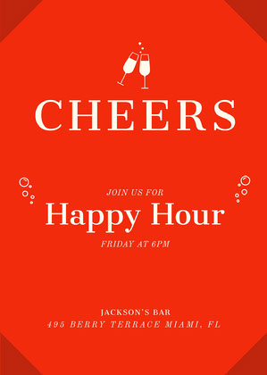 Red Contemporary Happy Hour Invitation Happy Hour Invitations