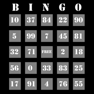 Black and Grey Bingo Card Cartazes de jogos