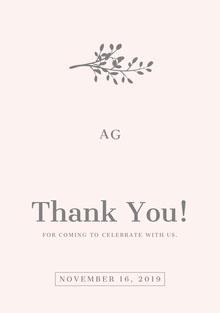 Grey Branch Wedding Thank You Card Wedding Thank You  Card
