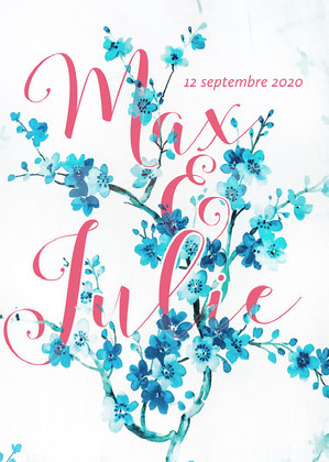Blue Flower Branch Engagement Card  Invitation de fiançailles