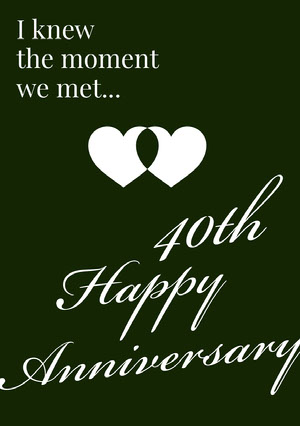Black and White Elegant 40th Happy Marriage Anniversary Card with Hearts Anniversary Card