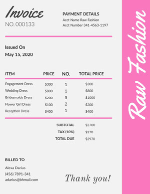 Pink Fashion Store Invoice 청구서
