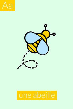Yellow Green Bee A Alphabet Flashcard Fiche mémoire