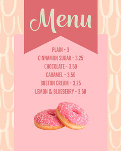 Pink & Peach Doughnut Menu Instagram Portrait Dessert