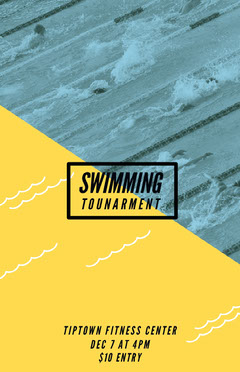 Yellow and Blue Swimming Tournament Flyer Sports