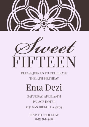 Black and White Elegant Floral Quinceanera Birthday Invitation Card Invitation de fête des 15 ans