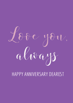 Violet and White Anniversary Card Anniversary Card