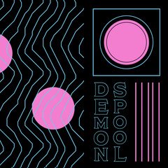 Black Pink and Blue Graphic Pattern Album Cover Neon