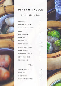 White and Fresh Dishes Restaurant Menu 메뉴판