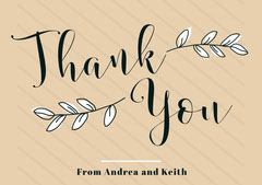Beige Striped Floral Calligraphy Wedding Thank You Card Rustic Wedding Invitation