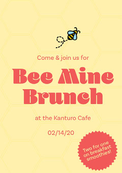 Yellow and Red Bee Pun Valentine's Day Brunch Invitation Card Brunch