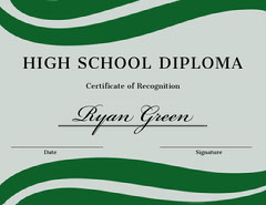 Green and Blue High School Graduation Certificate Wave