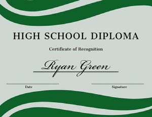 Green and Blue High School Graduation Certificate Certificato di diploma