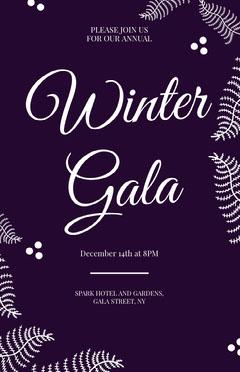 Purple and White, Elegant, Winter Gala Invitation Card Christmas Invitation