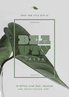 Green and Grey, Light Toned, Beauty Salon, Flyer Beauty