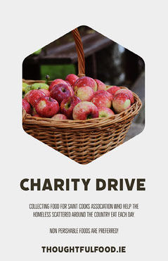 Charity Food Donation Event Flyer with Apples in Basket Food Flyer