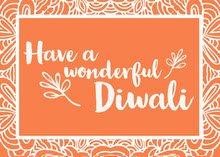 Orange and White Diwali Wishes Card Tarjetas