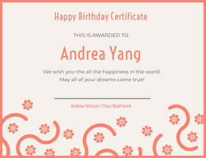 Orange Floral Birthday Certificate from Boyfriend Birthday Certificate