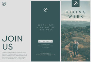 Green and Grey, Hiking Week Travel, Brochure Travel Brochure