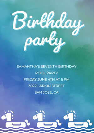 Green and Blue Illustrated Birthday Pool Party Invitation Card with Unicorns Yksisarvissynttärikortti
