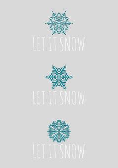 Blue Winter Snowlake Christmas Card Winter