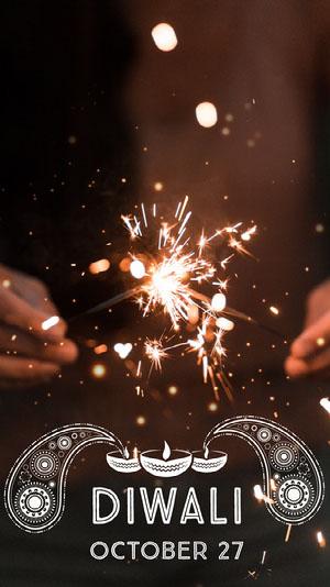 White With Sparkles Diwali Social Post Diwali