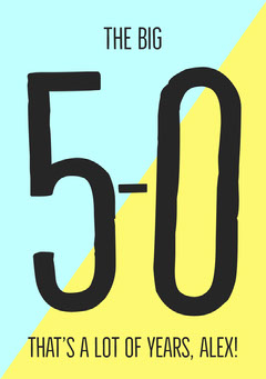 Blue, Yellow and Black Minimalistic Birthday Wishes Card Jokes