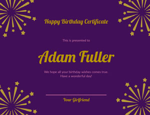 Purple and Gold Birthday Certificate from Girlfriend with Fireworks Birthday Certificate
