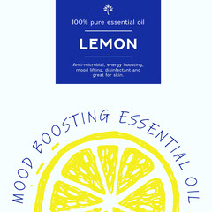 Blue yellow essential oils lemon health packaging - square Health Poster