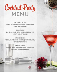 Grey & Red Cocktail Party Menu - Instagram Portrait Cocktails