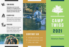 Green White and Brown Summer Camp Brochure  Summer Camp Poster