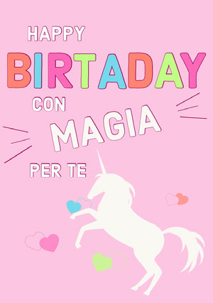 magical unicorn birthday cards Biglietto di auguri con unicorno