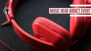 Red and Grey Music Head Addict Event Banner Music Banner